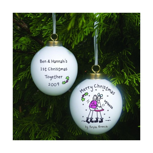 personalised christmas baubles for couples